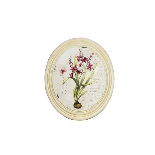 Noble Life Fuşya Kök Çiçek Oval Tablo