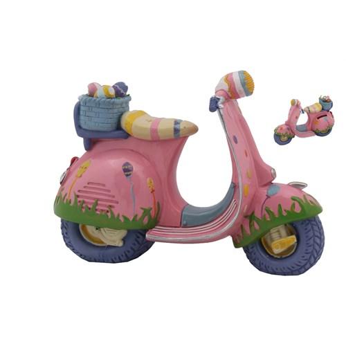 Pembe Motorsiklet Figürlü Kumbara
