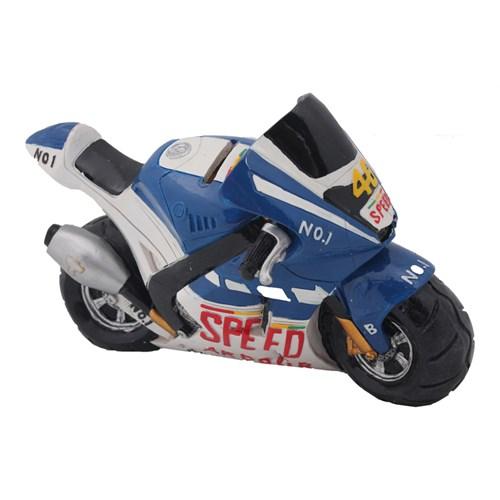 Mavi Yarış Motoru Figürlü Kumbara
