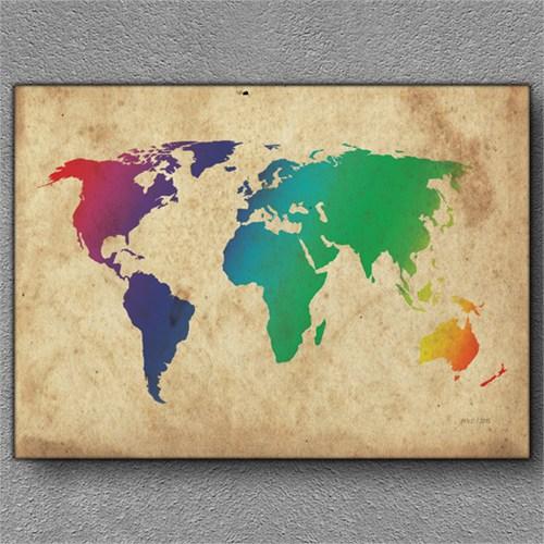 Tablom Dünya Haritası 4 Kanvas Tablo