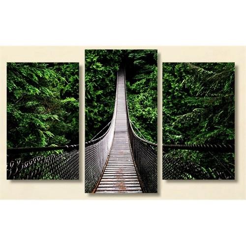 Tictac Ormandaki Köprü - 3 Parçalı Kanvas Tablo