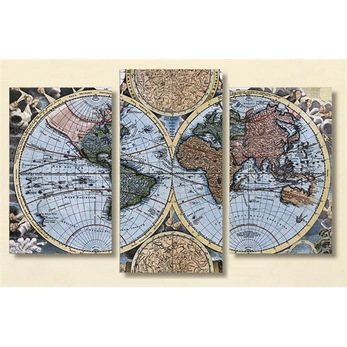 Tictac Antik Harita - 3 Parçalı Kanvas Tablo