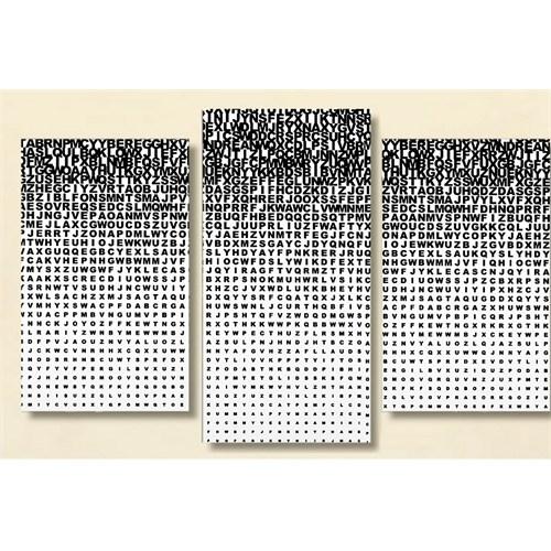 Tictac Harfler - 3 Parçalı Kanvas Tablo