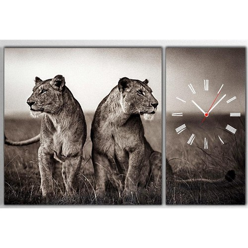 Tictac Aslanlar - 2 Parçalı Asimetrik Kanvas Saat Büyük Boy