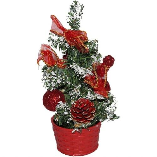 Kırmızı Yılbaşı Üzeri Süslü Masa Ağacı 20 Cm