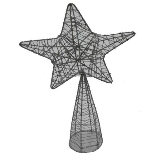 Gri Simli Yıldız Noel Ağacı Tepeliği 23 Cm