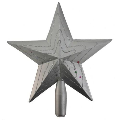 Yılbaşı Çam Ağacı Tepeliği Yıldız 20 Cm Gri