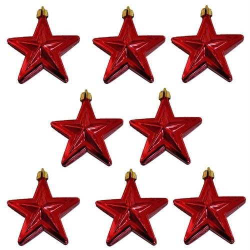 8 Adet Kırmızı Yılbaşı Çam Ağaç Süsü