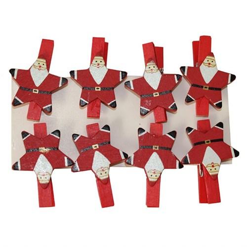 8 Li Yıldız Şekilli Noel Baba Mandal Süs
