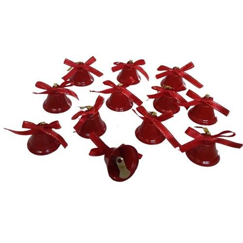 12 Li Kırmızı Dilli Çan Süsü