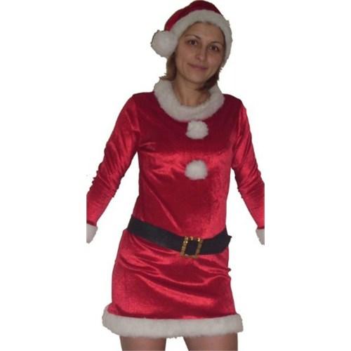 Kadife Yetişkin Noel Anne Kostümü L Beden
