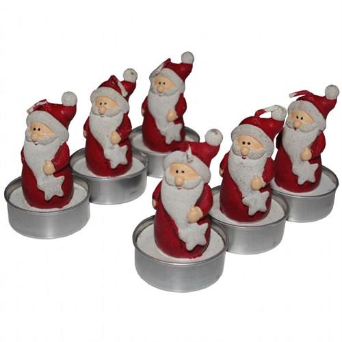 Kırmızı Noel Baba 6 Adet Yeniyıl Mum