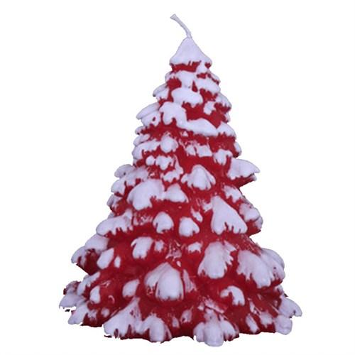 Karlı Kırmızı Çam Ağacı Yeniyıl Mumu