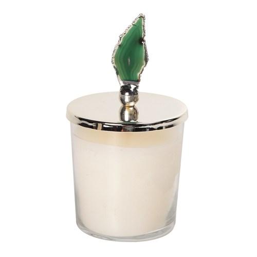 Altıncı Cadde Yeşil Doğal Taşlı Gümüş Kapaklı Mum Ve Mumluk