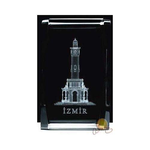 Üç Boyutlu Kristal Cam İzmir Figürü