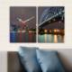 Decostil 2 Parçalı Kanvas Saat Işıklı Köprü