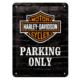 Nostalgic Art Harley Davidson Parking Only Metal Kabartmalı Duvar Panosu (15 x 20 cm)