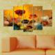 Casa De Arte 5 Parça Kanvas Tablo Renkli Çiçekler