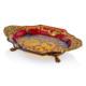 Cemile Kırmızı Kesme Camlı Altın Desenli Dekoratif Tabak