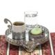 Mukko Home Yuvarlak Beyaz Motifli Aynalı Tepsi Ve Gümüş Kaplama Kahve Takımı