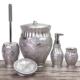 Mukko Home Flora Gümüş 5 Parça Polyester Banyo Takımı