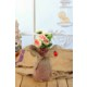 Gold Case Natural Süslemeli Kısa Cam Vazolu Çiçek Demeti Bymst103