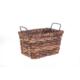 Bacbac Kalın Hasır Demir Saplı Dikdörtgen Sepet Koyu Kahve Küçük