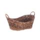 Bacbac Hasır Dalgalı Oval Sepet Koyu Kahve Küçük