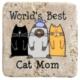 XukX Dizayn Dünyanın En İyi Kedi Annesi Bardak Altlığı