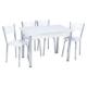 Aras Parlak Beyaz Açılır Eko Masa Takımı (6 Sandalye)