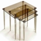 Ku-Cam Karan Kahve Temalı Bronz 3'Lü Orta Cam Zigon Sehpa