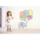 Şirin Fil ve Balonlar Duvar Sticker 21 x 26 cm