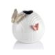 Porio M66-103 - Kelebekli Beyaz Vazo 17 Cm