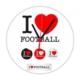 Fotografyabaskı Futbolu Seviyorum 20 Cm Yuvarlak Hdf Saat Baskı