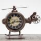 Vintage Metal Masaüstü Saat \ Helikopter Görünümlü - KahVerengi 23X7X18 LN957-1