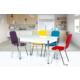 Gül Masa Mutfak Masası Takımı Cam Masa 4 Adet Karizma Üst Üste Geçebilen Sandalye Seti Zarif Şık