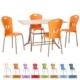 Elimoni Sandalye 4 Adet Set Metal Ayaklı Canlı Renkler