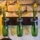 Çevre Dostu Dekoratif Yeşil Şişeli 3 lü Duvar Süsü Vazo