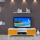 Eyibil Mobilya Aleyna 160 cm Gövde Beyaz Kapak Turuncu Tv Ünitesi Duvar Raflı