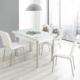 Evinizin Mobilyası Açılır Cam Mutfak Masası Masa Sandalye Buket Desenli(6 Sandalyeli)