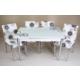 Evinizinmobilyasi İmalattan Satış Açılır Cam Mutfak Masası Masa Sandalye Elips Desenli(6 Sandalyeli)