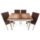 Evinizinmobilyasi İmalattan Satış Açılır Cam Mutfak Masası Masa Sandalye Düz Ahşap Desenli(6 Sandalyeli)