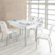 Evinizinmobilyasi İmalattan Satış Açılır Cam Mutfak Masası Masa Sandalye Lila Çiçek Desenli(6 Sandalyeli)