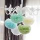 Bebekparti Ponpon Çiçek 5'li Mavi Beyaz Yeşil Krem