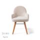Vilinze Atlas Sandalye, Beyaz Flok Kumaş, Natürel Ahşap 2'Li Kutu, Vilinze Tasarım Sandalyeler, Masaya Davet
