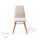 Vilinze Monaliza Sandalye, 2 Adet , Beyaz Kumaş, Natürel Ahşap Ayak