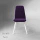 Vilinze Monaliza Sandalye, 2 Adet , Mor Kumaş, Beyaz Ahşap Ayak