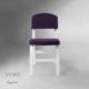 Vilinze Ege Sandalye, 2 Adet , Mor Kumaş, Beyaz Ahşap Ayak