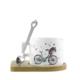 Bisiklet Tasarımlı Kupa Fincan -Ahşap Altlık