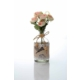 Gold Case Hasır İp Ve Baskılı Kumaş Süslemeli Cam Vazolu Gül Demeti Açık Pembe Bymst151